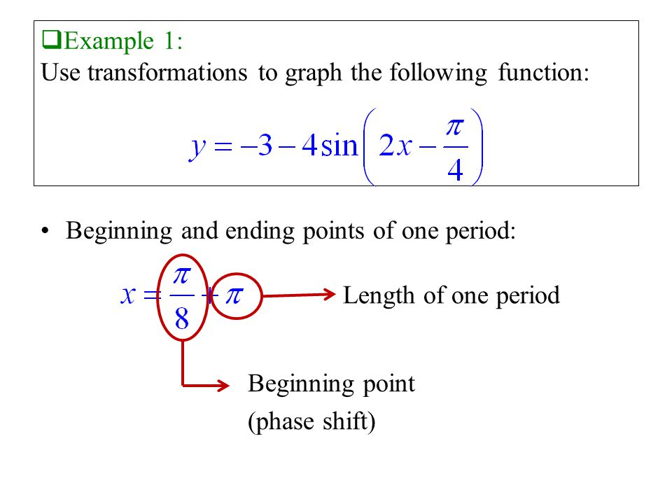  Example 1: Use transformations to graph the following function: Beginning and ending points of one period: Length of one period Beginning point (phase shift)