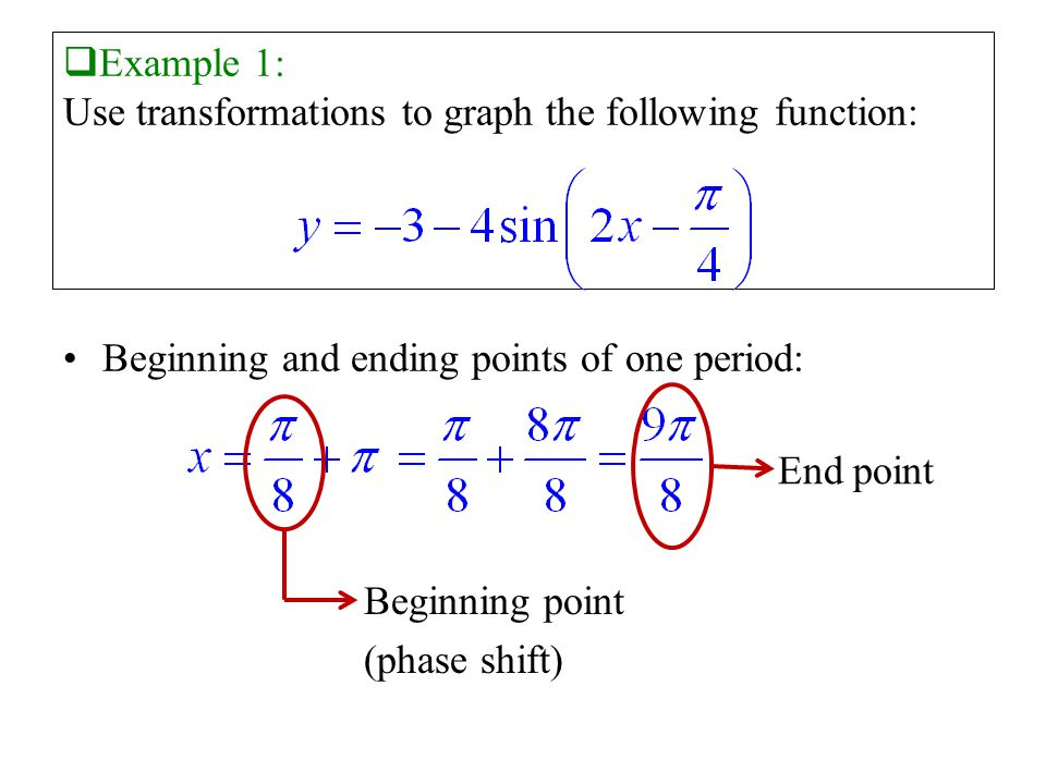  Example 1: Use transformations to graph the following function: Beginning and ending points of one period: End point Beginning point (phase shift)
