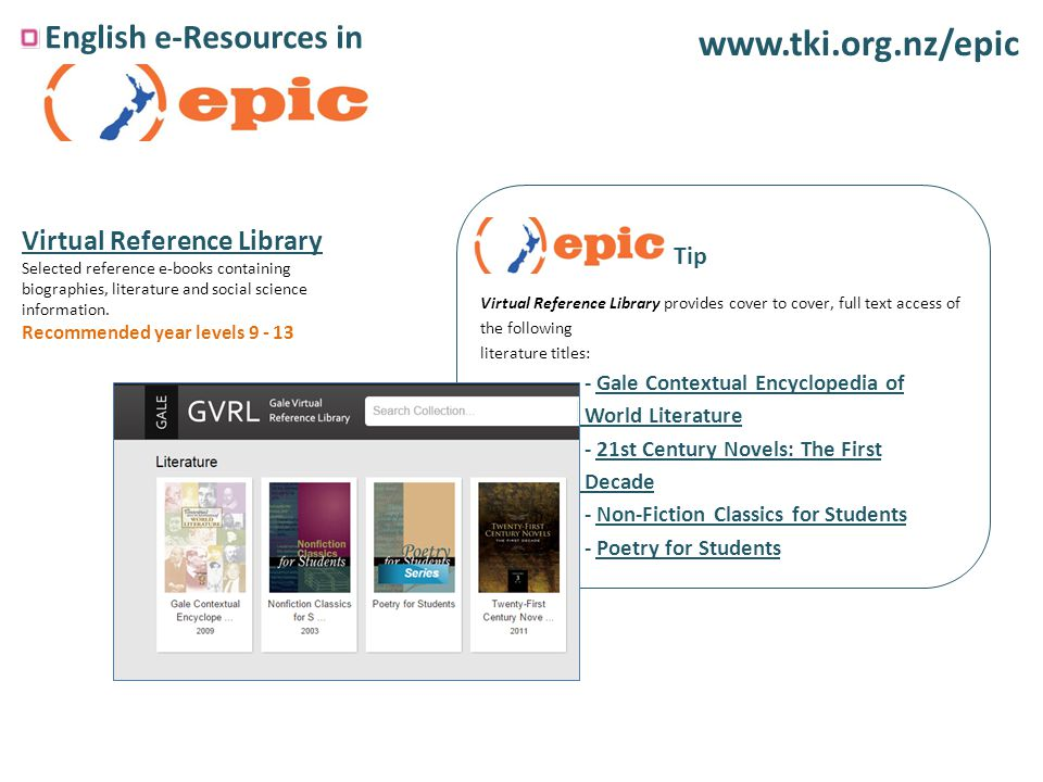 English e-Resources in   Virtual Reference Library Selected reference e-books containing biographies, literature and social science information.
