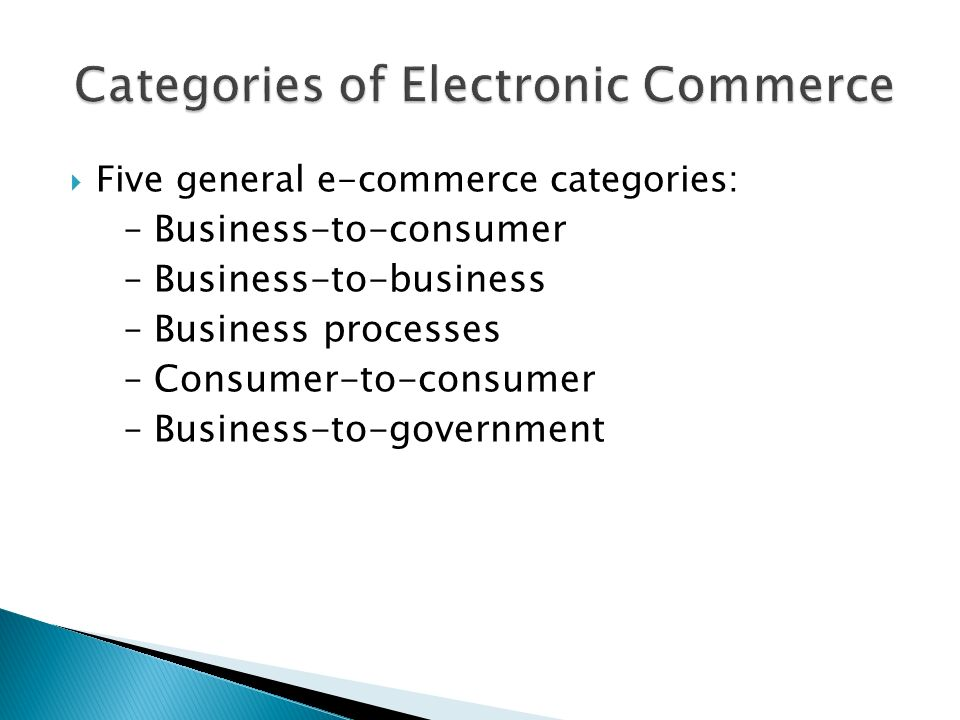  Five general e-commerce categories: – Business-to-consumer – Business-to-business – Business processes – Consumer-to-consumer – Business-to-government