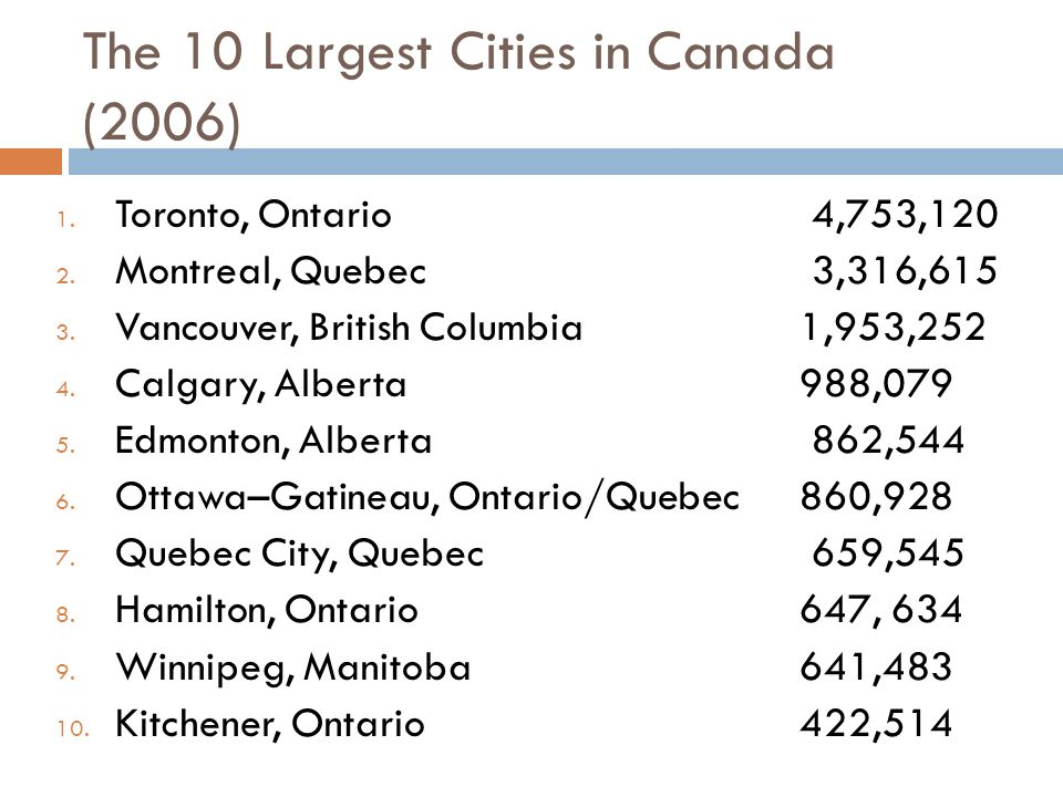 The 10 Largest Cities in Canada (2006) 1. Toronto, Ontario 4,753,