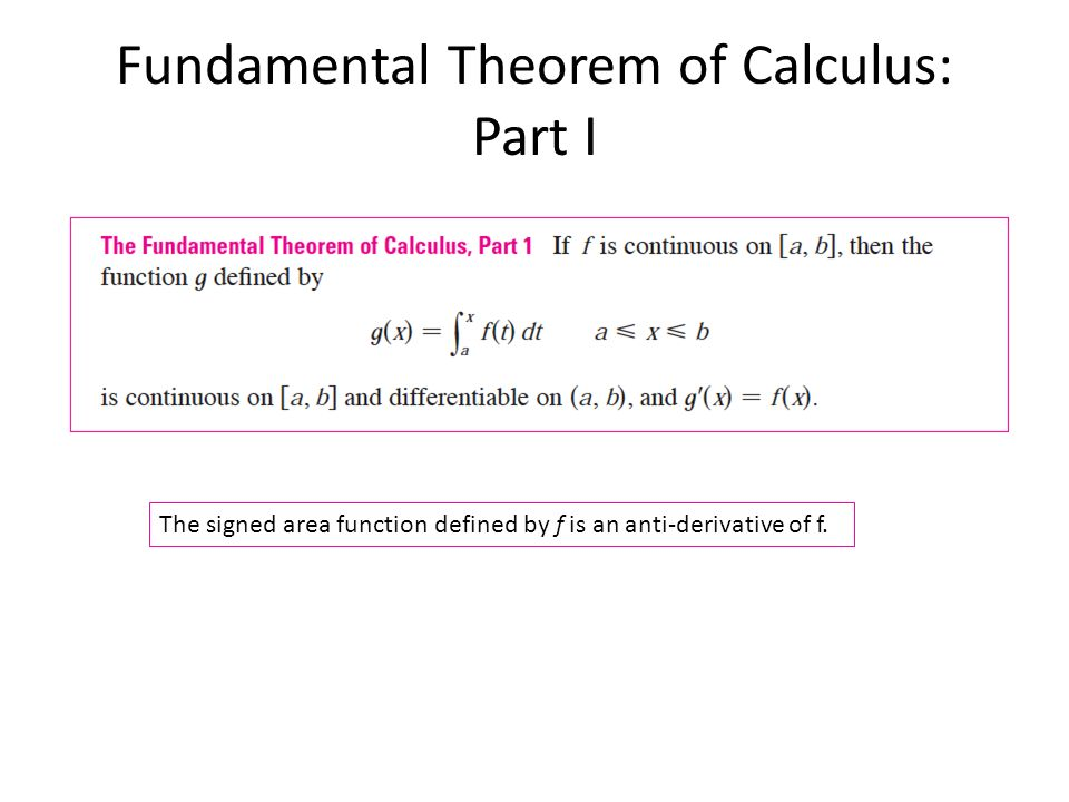 Fundamental Theorem of Calculus: Part I The signed area function defined by f is an anti-derivative of f.