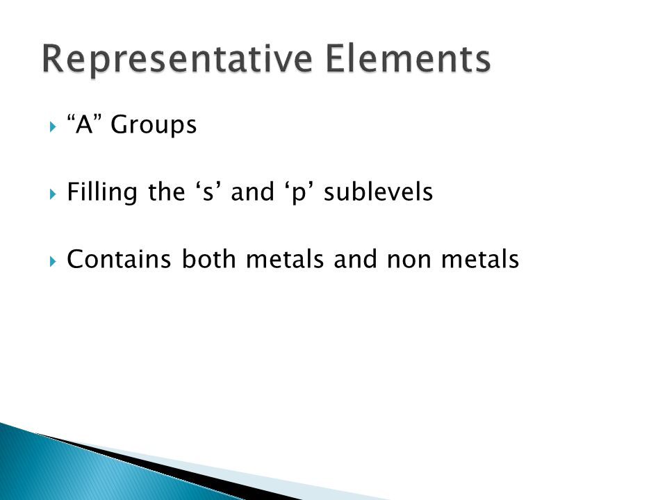  A Groups  Filling the 's' and 'p' sublevels  Contains both metals and non metals
