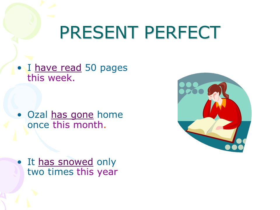 PRESENT PERFECT I have read 50 pages this week. Ozal has gone home once this month.