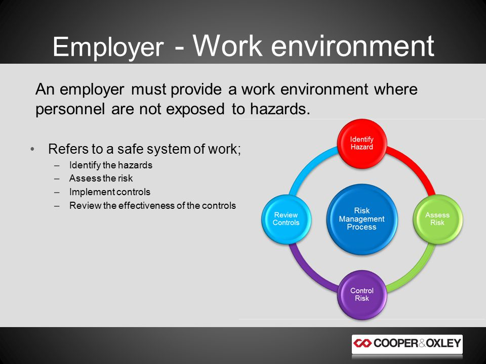 An employer must provide a work environment where personnel are not exposed to hazards.