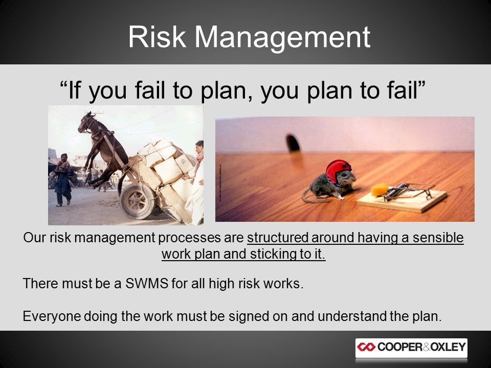 Risk Management If you fail to plan, you plan to fail Our risk management processes are structured around having a sensible work plan and sticking to it.