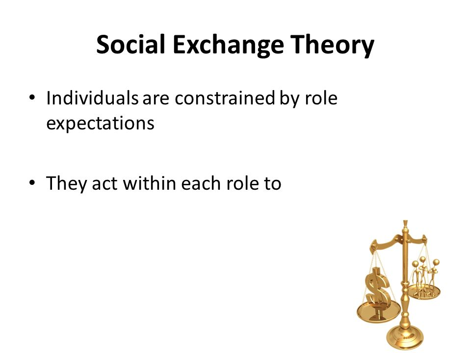 Social Exchange Theory Individuals are constrained by role expectations They act within each role to