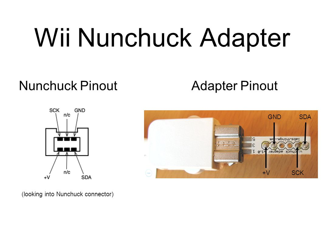 37 Wii Nunchuck Adapter Nunchuck Pinout (looking into Nunchuck connector)  Adapter Pinout +VSCK SDAGND