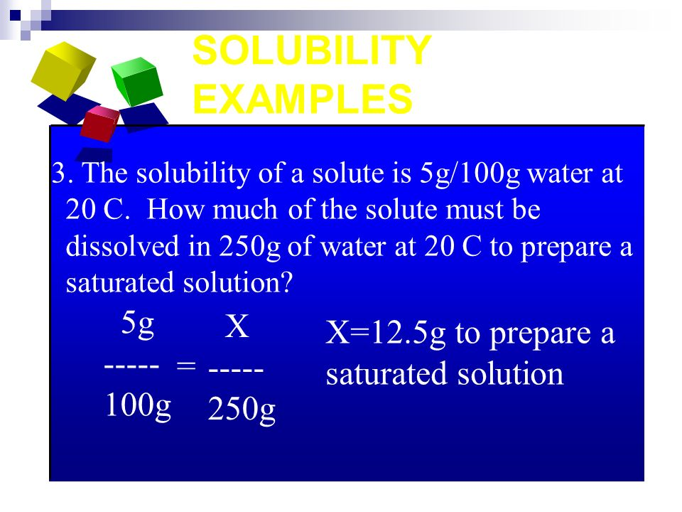 SOLUBILITY EXAMPLES 3. The solubility of a solute is 5g/100g water at 20 C.