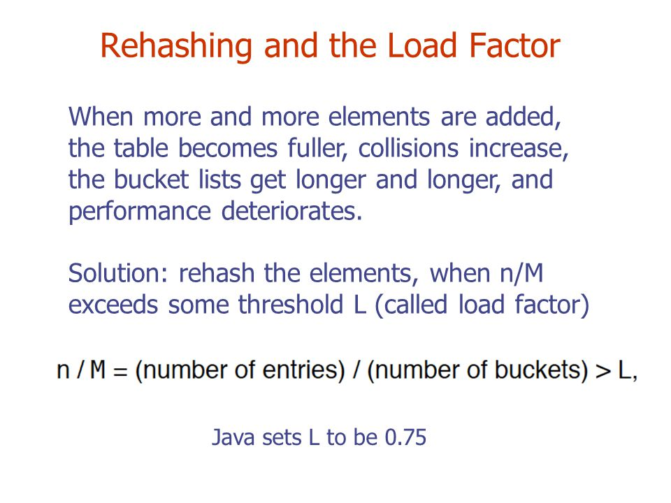 Rehashing and the Load Factor When more and more elements are added, the table becomes fuller, collisions increase, the bucket lists get longer and longer, and performance deteriorates.