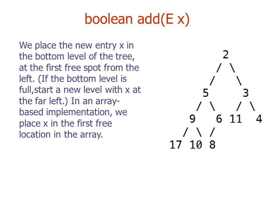 boolean add(E x) We place the new entry x in the bottom level of the tree, at the first free spot from the left.