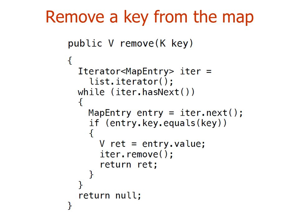 Remove a key from the map