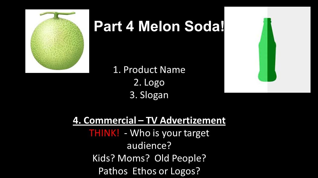 Part 4 Melon Soda. 1. Product Name 2. Logo 3. Slogan 4.