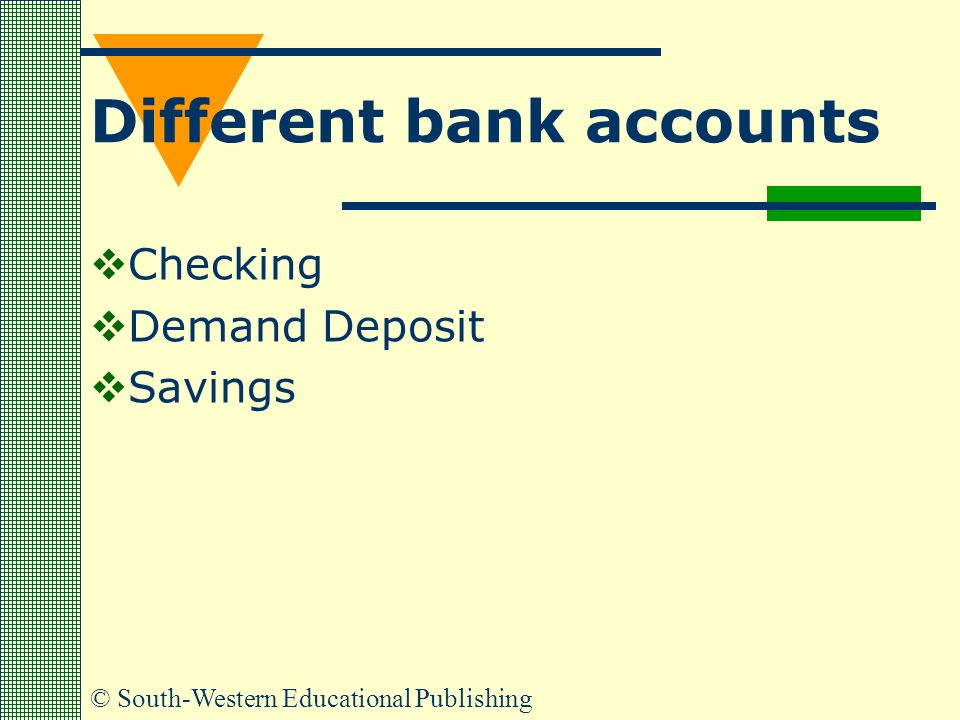 Different bank accounts  Checking  Demand Deposit  Savings © South-Western Educational Publishing