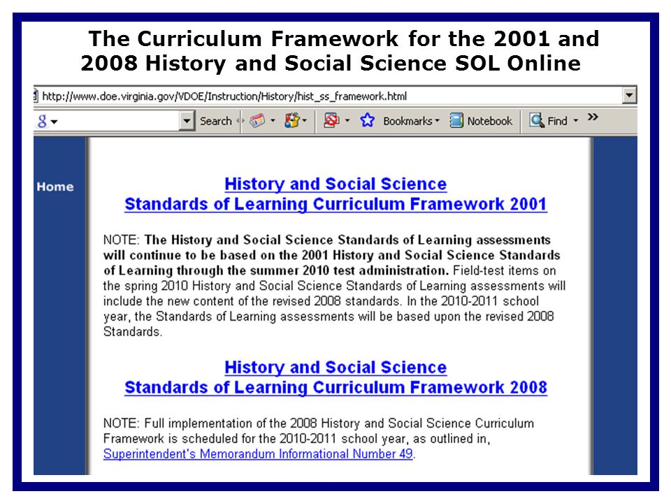 Update And Implementation 2008 History Social Science Standards