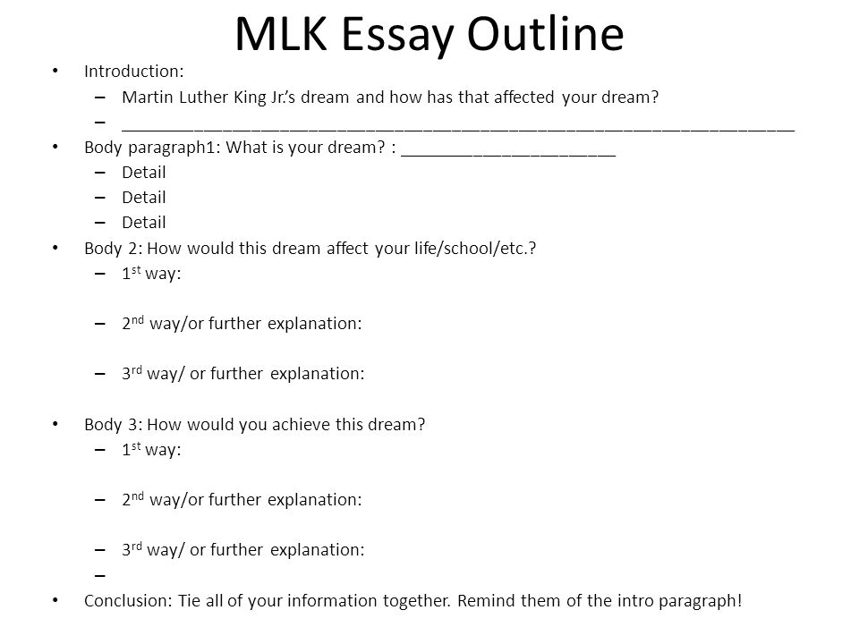Mlk Essay Graphic Organizer Mlk Essay Outline Introduction   Mlk