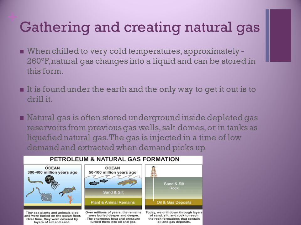 + Gathering and creating natural gas When chilled to very cold temperatures, approximately - 260°F, natural gas changes into a liquid and can be stored in this form.