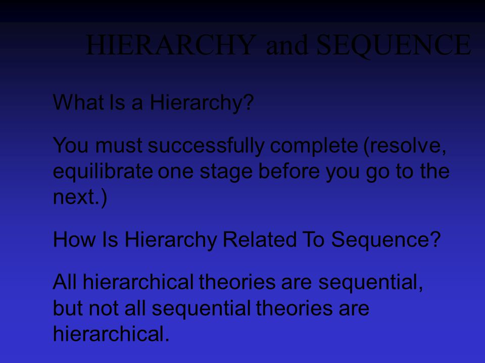 HIERARCHY and SEQUENCE What Is a Hierarchy.