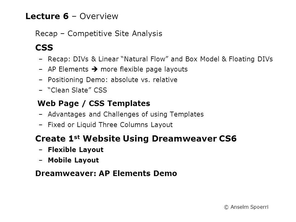 Anselm Spoerri Web Design Information Visualization Course Prof