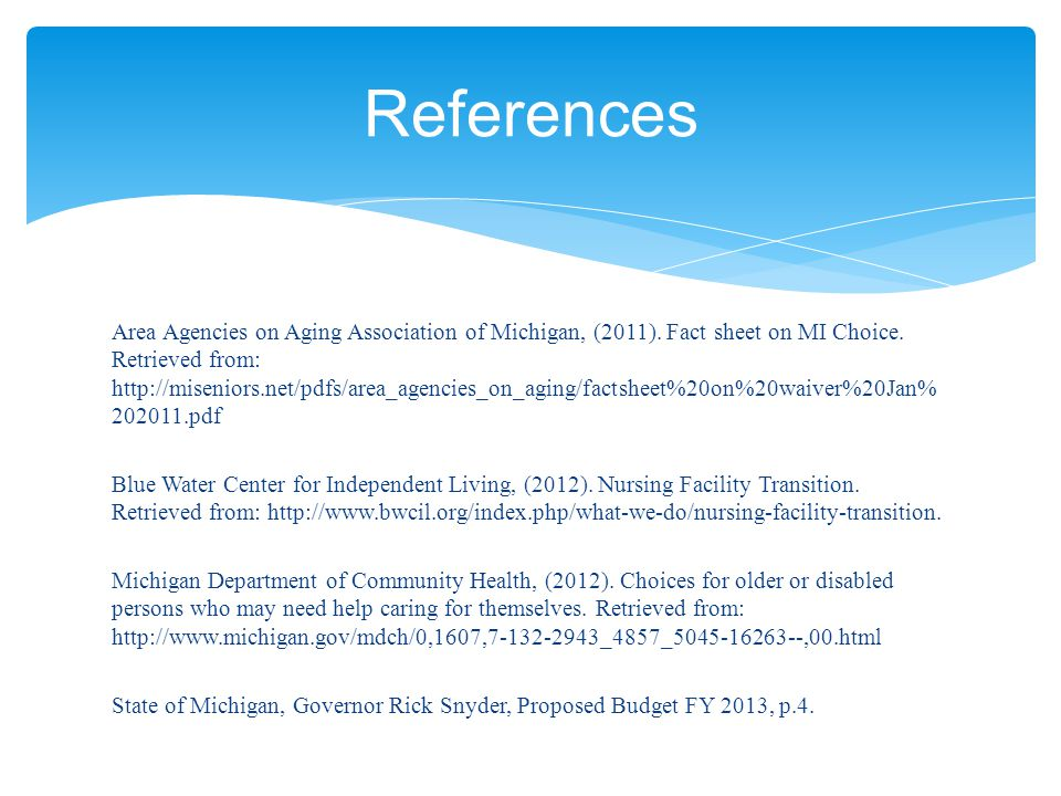 Area Agencies on Aging Association of Michigan, (2011).