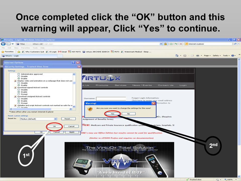 Once completed click the OK button and this warning will appear, Click Yes to continue.