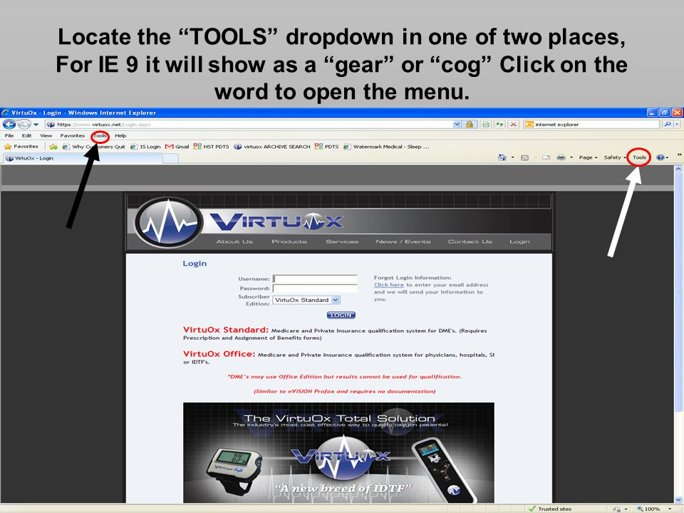 Locate the TOOLS dropdown in one of two places, For IE 9 it will show as a gear or cog Click on the word to open the menu.