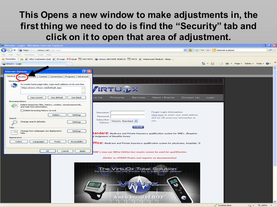 This Opens a new window to make adjustments in, the first thing we need to do is find the Security tab and click on it to open that area of adjustment.