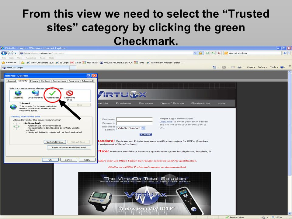 From this view we need to select the Trusted sites category by clicking the green Checkmark.