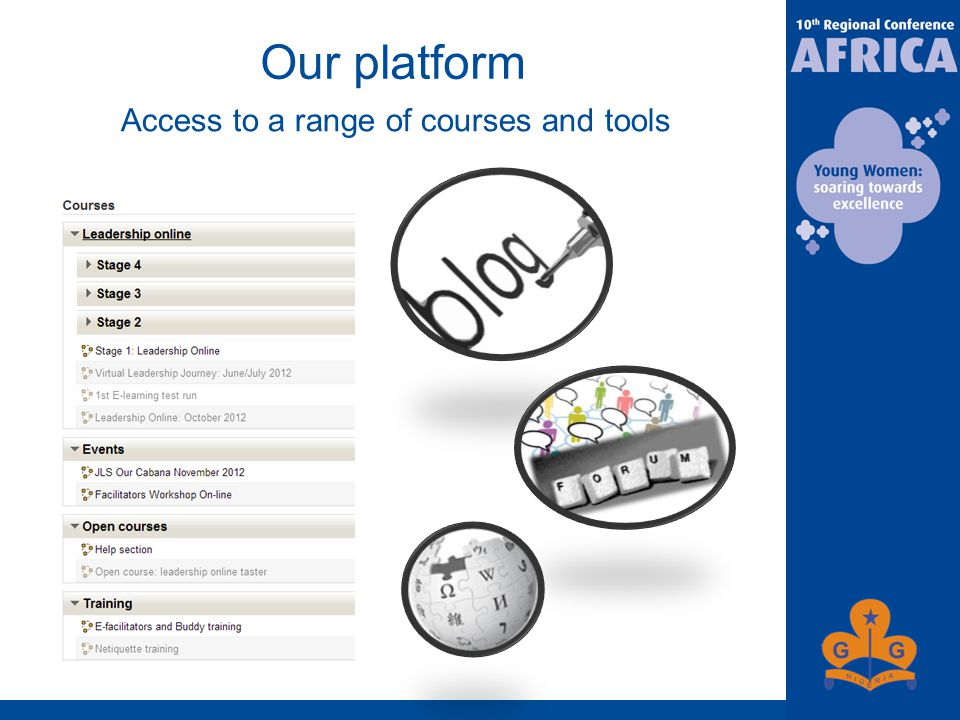 Our platform Access to a range of courses and tools