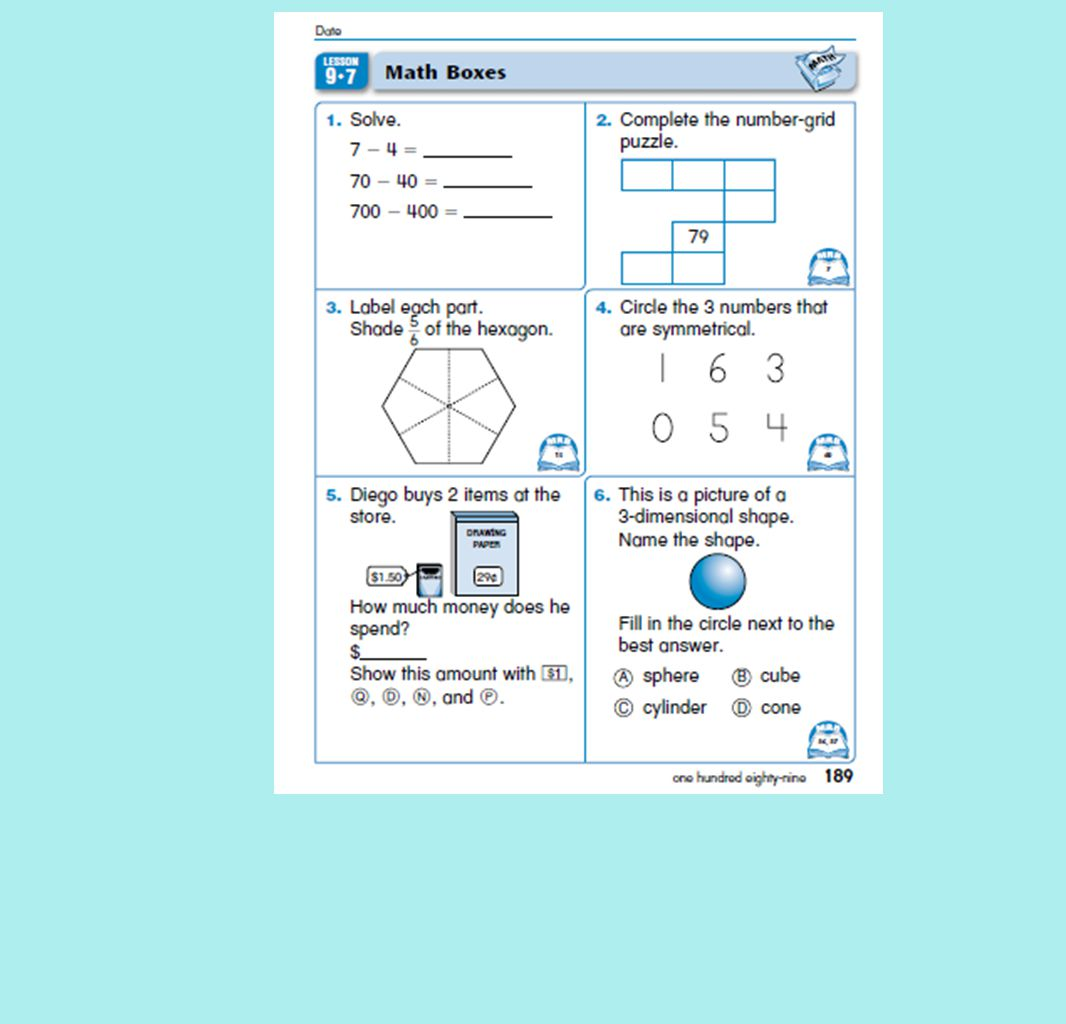 First Grade Everyday Math Unit 9 Place Value and Fractions 3rd ...