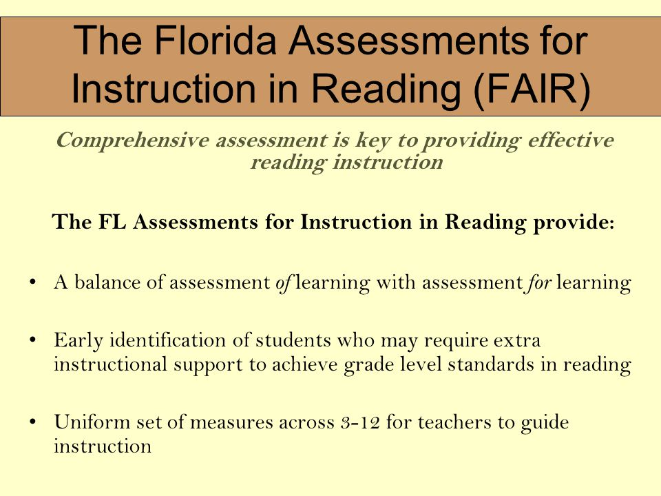 1 The Background And An Overview Of Florida Assessments For