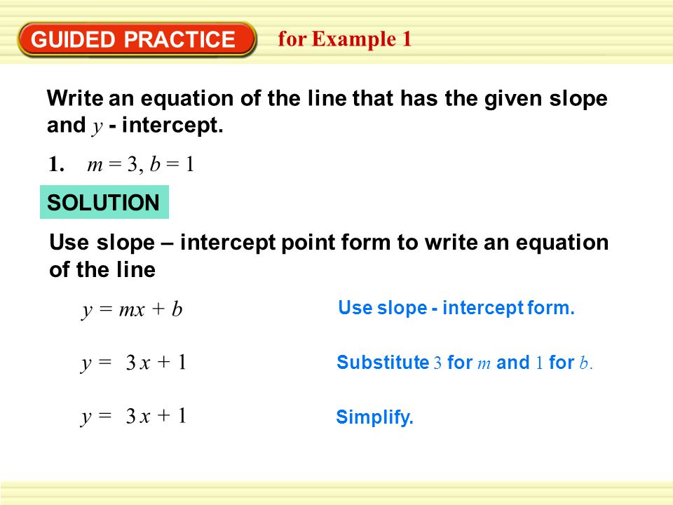 GUIDED PRACTICE for Example 1 Write an equation of the line that has the given slope and y - intercept.