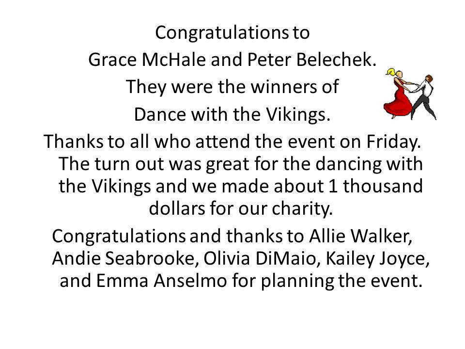 Congratulations to Grace McHale and Peter Belechek.