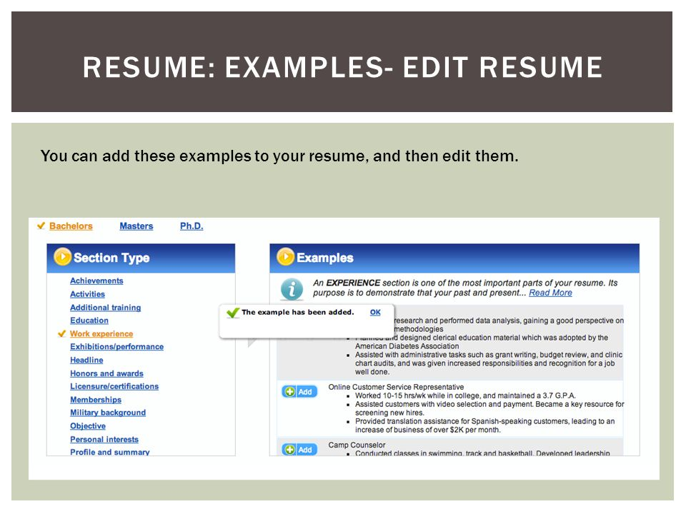 RESUME: EXAMPLES- EDIT RESUME You can add these examples to your resume, and then edit them.