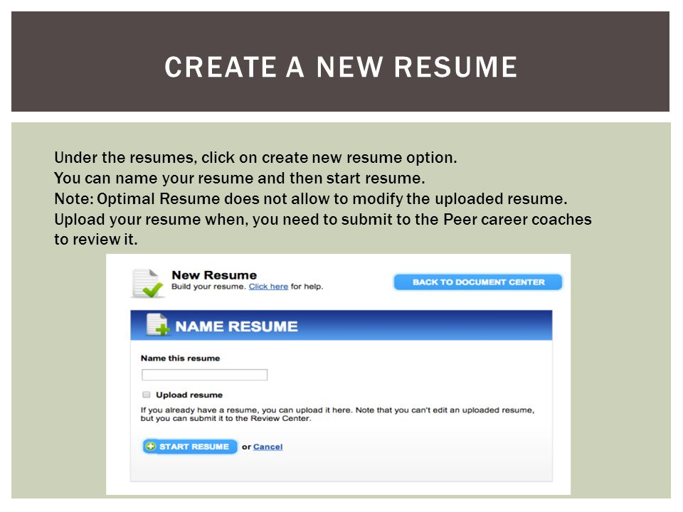 CREATE A NEW RESUME Under the resumes, click on create new resume option.