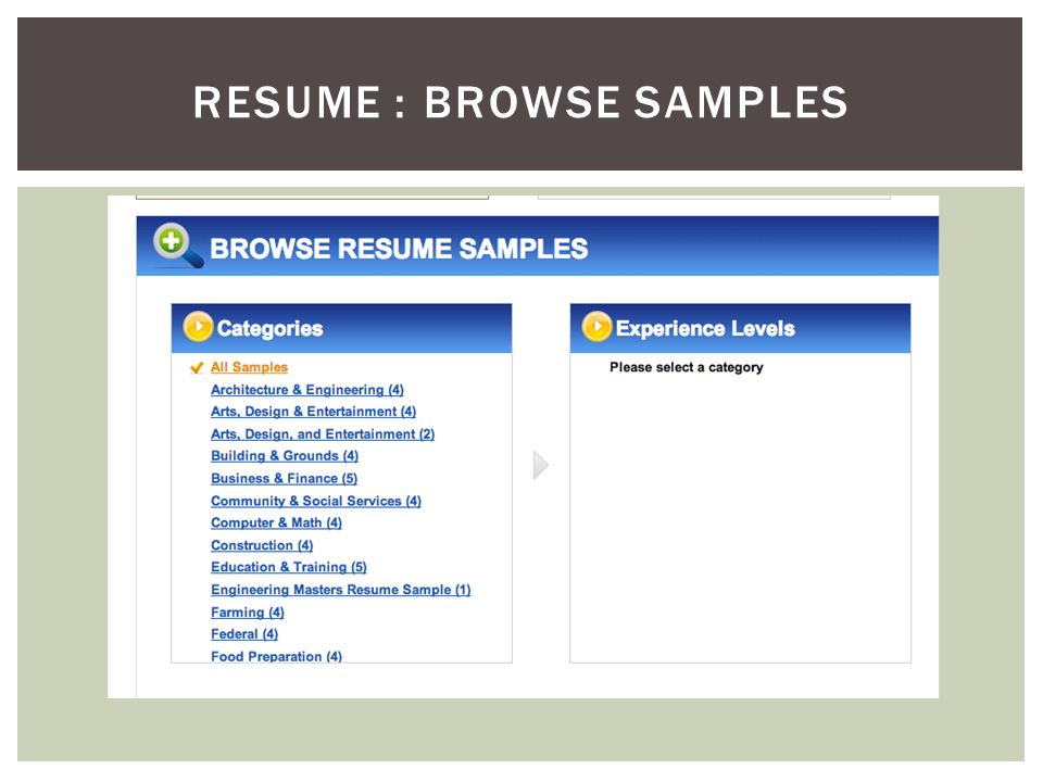RESUME : BROWSE SAMPLES