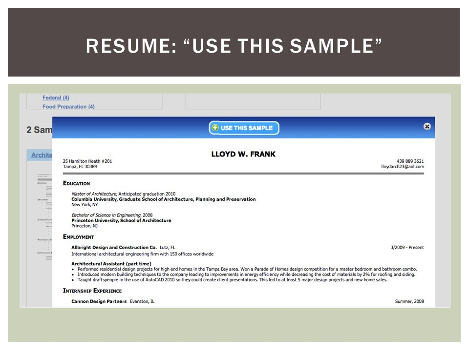 RESUME: USE THIS SAMPLE