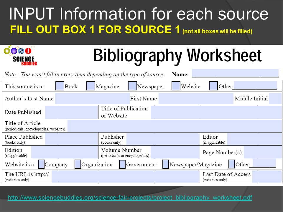 INPUT Information for each source   FILL OUT BOX 1 FOR SOURCE 1 (not all boxes will be filled)
