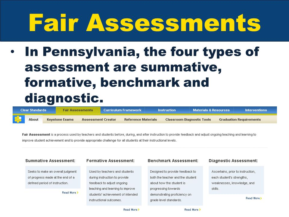 Fair Assessments In Pennsylvania, the four types of assessment are summative, formative, benchmark and diagnostic.