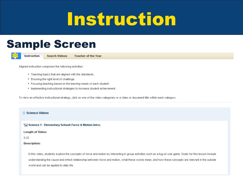 Instruction Sample Screen