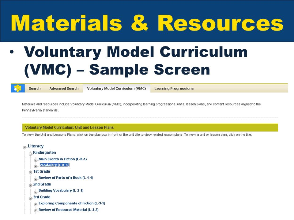 Materials & Resources Voluntary Model Curriculum (VMC) – Sample Screen
