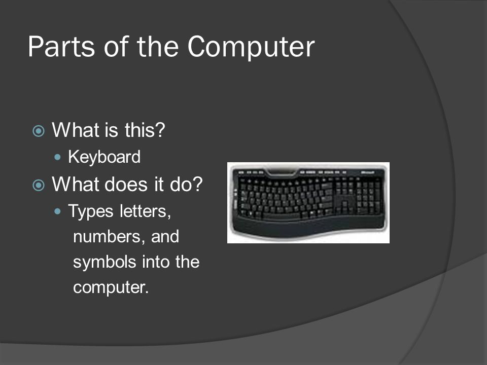 Parts of the Computer  What is this. Keyboard  What does it do.