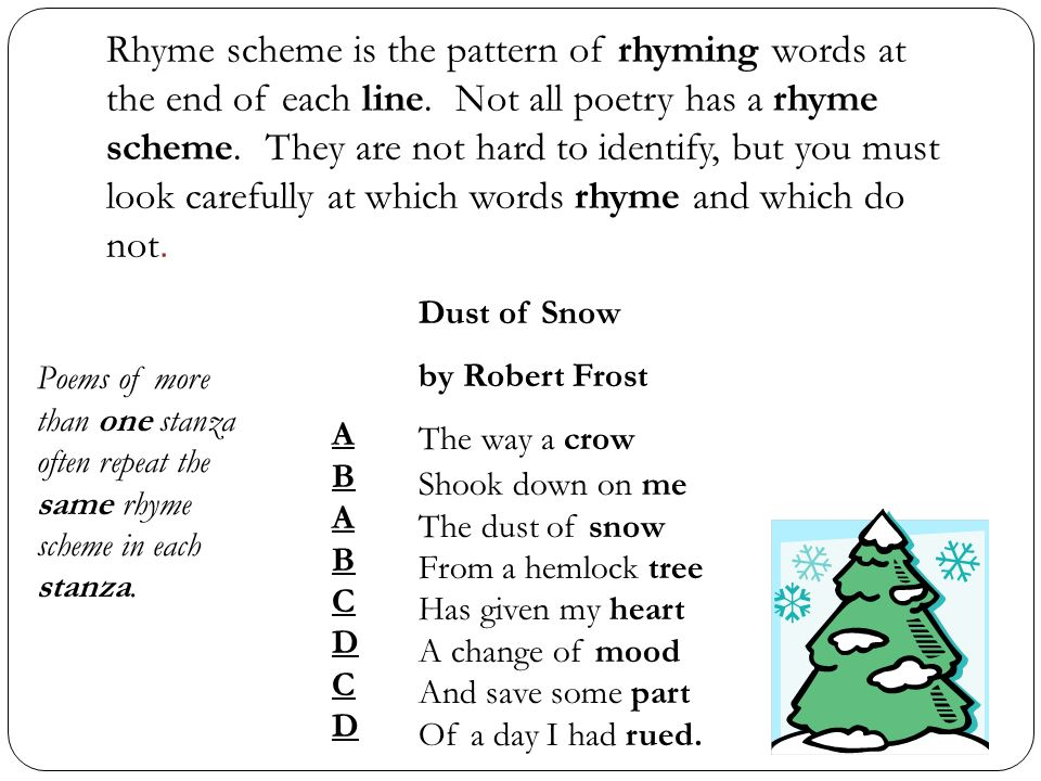 Rhyme scheme is the pattern of rhyming words at the end of each line.