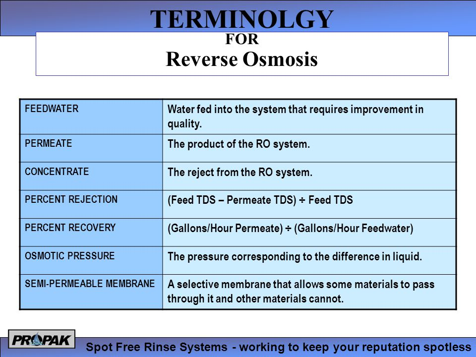 TERMINOLGY Spot Free Rinse Systems - working to keep your reputation spotless FOR Reverse Osmosis FEEDWATER Water fed into the system that requires improvement in quality.