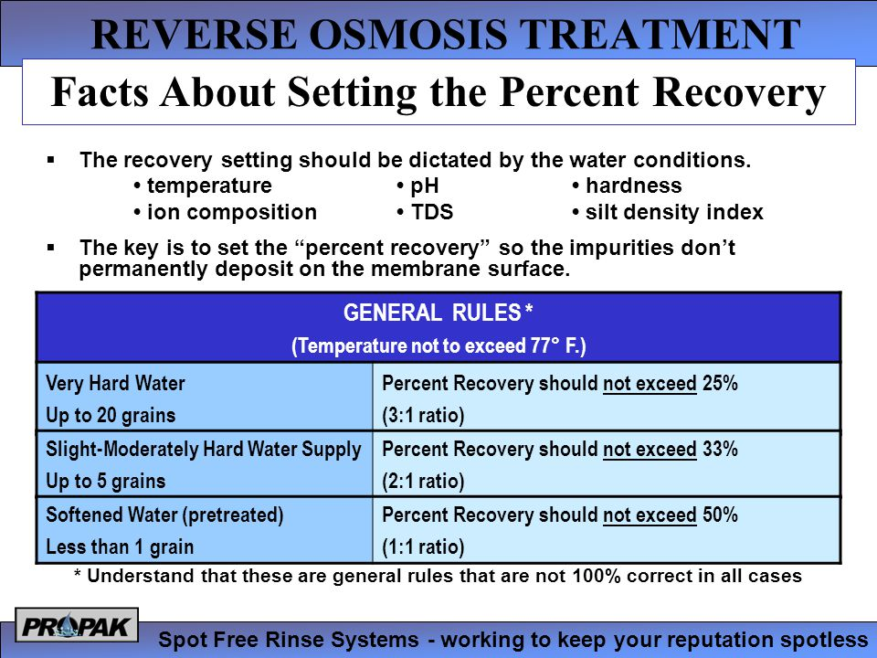 REVERSE OSMOSIS TREATMENT Spot Free Rinse Systems - working to keep your reputation spotless  The recovery setting should be dictated by the water conditions.