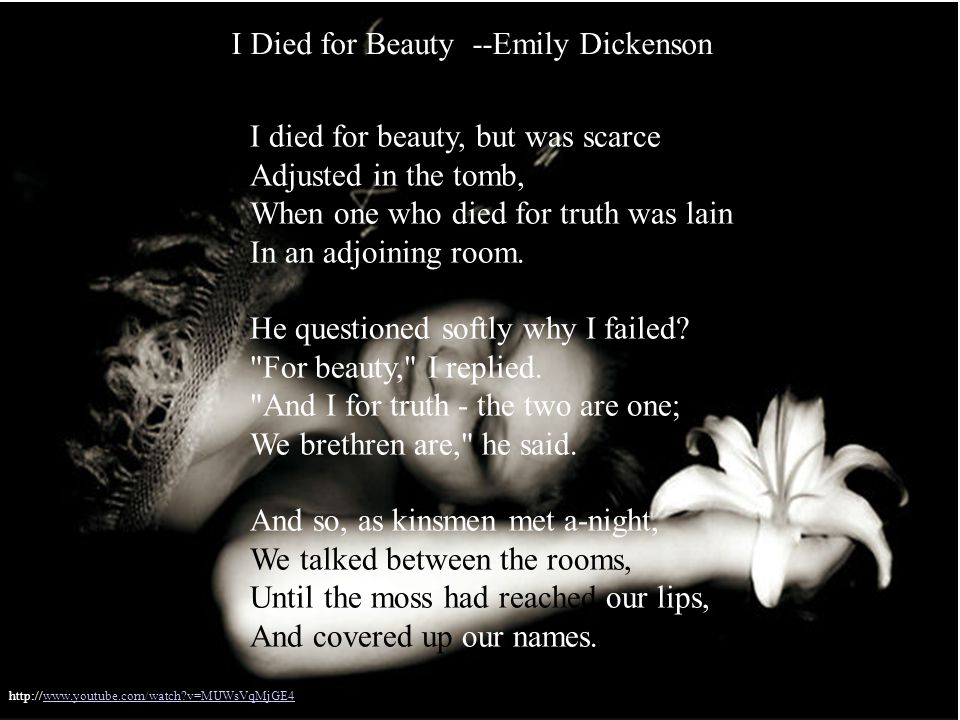 emily dickinson i died for beauty