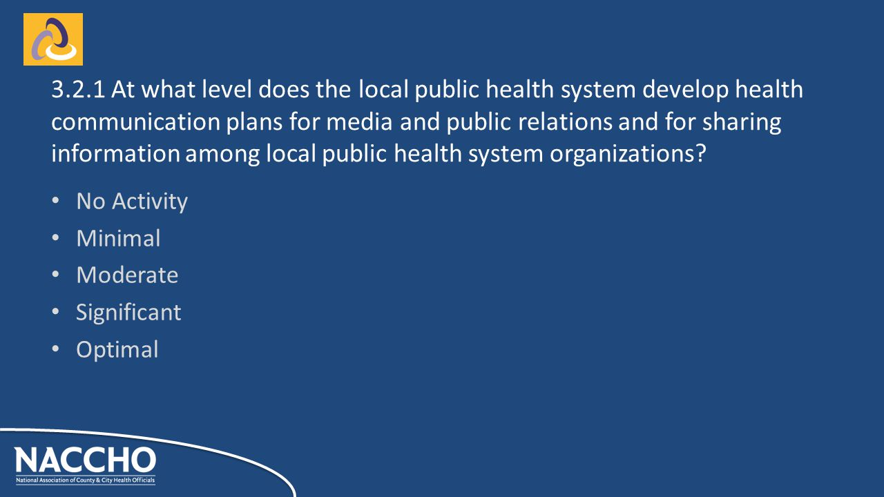 No Activity Minimal Moderate Significant Optimal At what level does the local public health system develop health communication plans for media and public relations and for sharing information among local public health system organizations