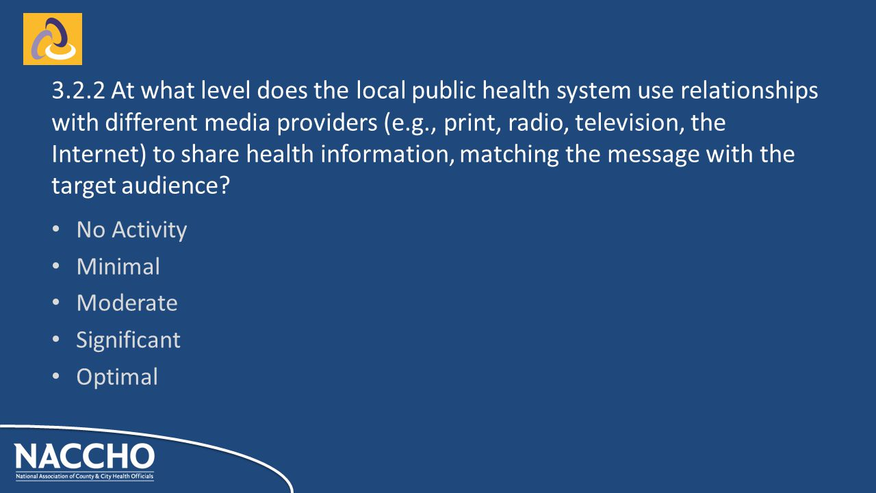 No Activity Minimal Moderate Significant Optimal At what level does the local public health system use relationships with different media providers (e.g., print, radio, television, the Internet) to share health information, matching the message with the target audience