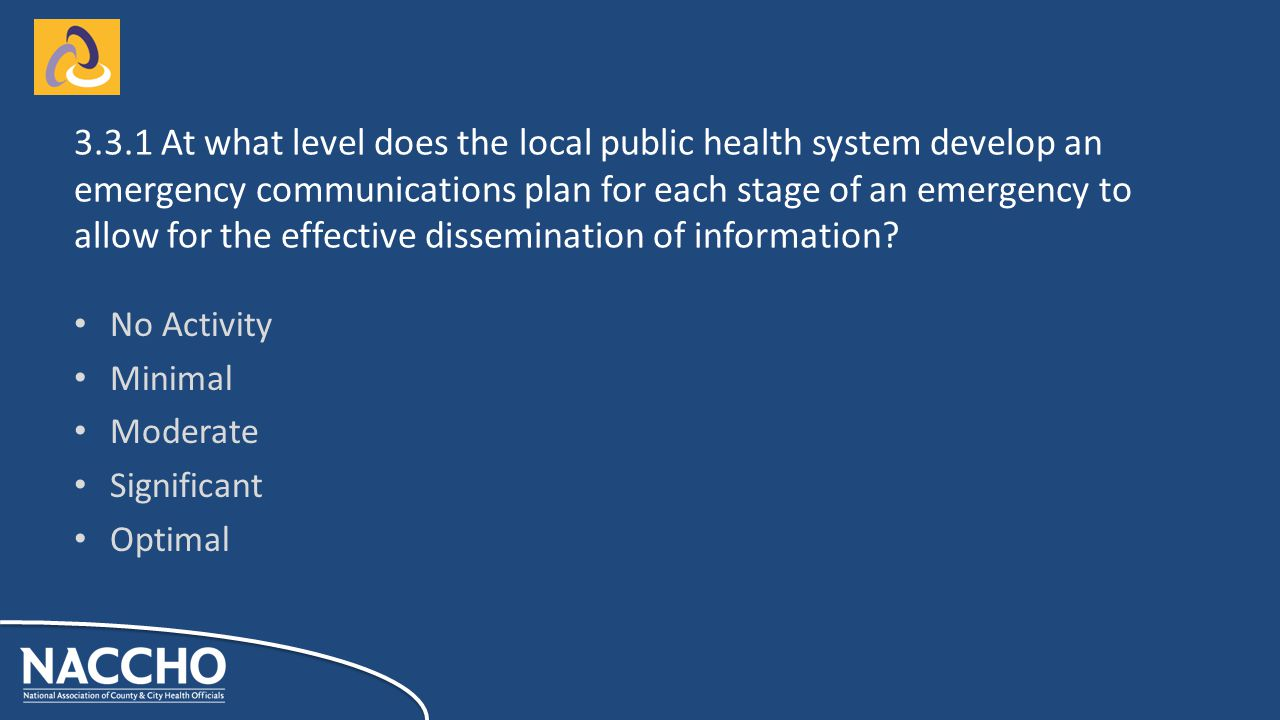 No Activity Minimal Moderate Significant Optimal At what level does the local public health system develop an emergency communications plan for each stage of an emergency to allow for the effective dissemination of information