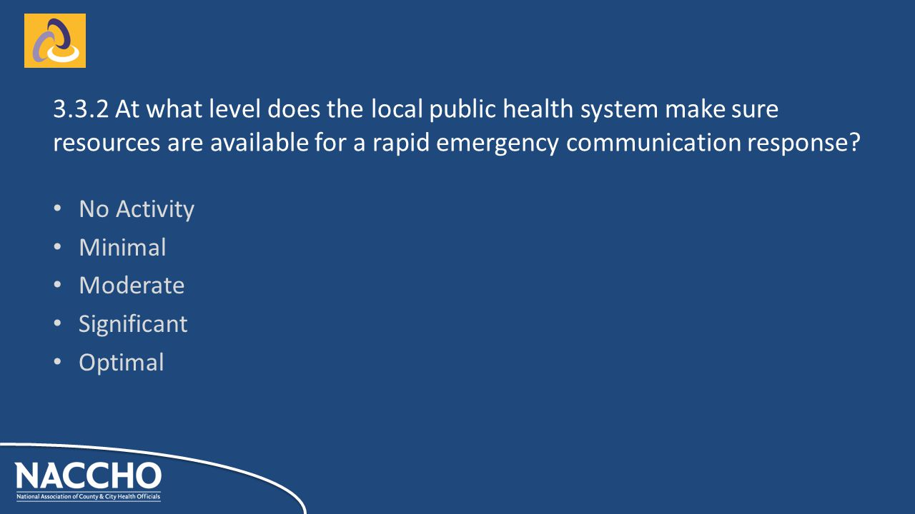 No Activity Minimal Moderate Significant Optimal At what level does the local public health system make sure resources are available for a rapid emergency communication response